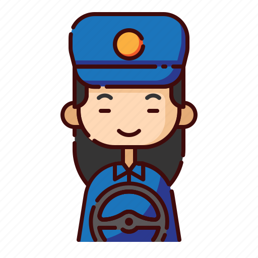 avatar, chinese, diversity, driver, girl, people, profession icon