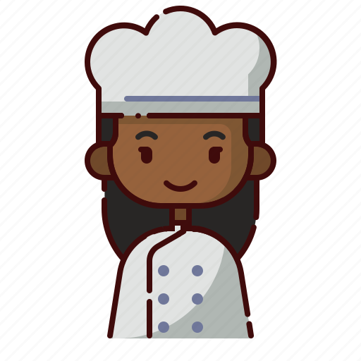 african, avatar, baker, diversity, girl, people, profession icon