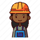 african, avatar, diversity, engineer, girl, people, profession icon