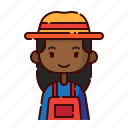 african, avatar, diversity, farmer, girl, people, profession icon