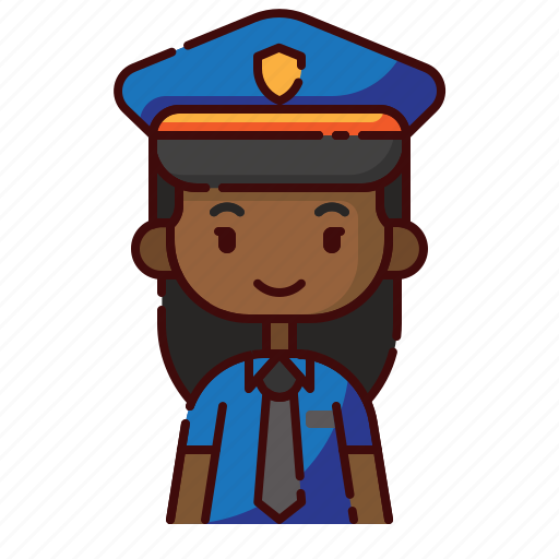 african, avatar, diversity, girl, people, police, profession icon