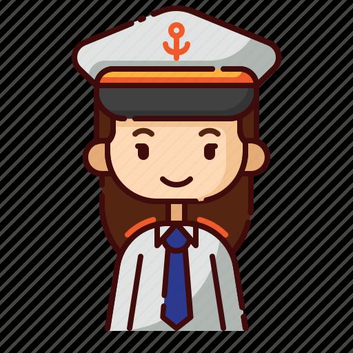 avatar, captain, diversity, female, girl, people, profession icon