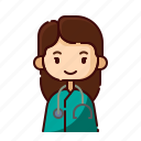 avatar, diversity, doctor, female, girl, people, profession icon