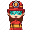 avatar, diversity, female, firefighter, girl, people, profession