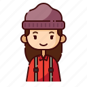 avatar, diversity, female, girl, lumberjack, people, profession icon