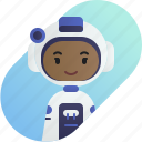 african, astronaut, avatar, diversity, girl, people, profession icon