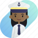 african, avatar, captain, diversity, girl, people, profession icon