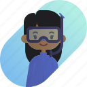 african, avatar, diver, diversity, girl, people, profession icon