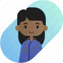 african, avatar, diversity, doctor, girl, people, profession icon