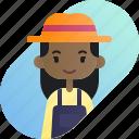 african, avatar, diversity, farmer, girl, people, profession icon