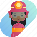 african, avatar, diversity, firefighter, girl, people, profession icon