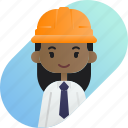 african, avatar, diversity, foreman, girl, people, profession icon