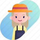 avatar, blonde, diversity, farmer, girl, people, profession icon