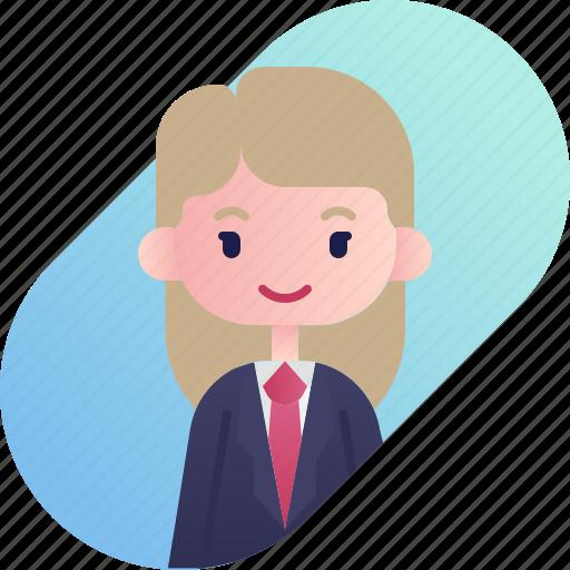 avatar, blonde, businessman, diversity, girl, people, profession icon