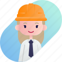 avatar, blonde, diversity, foreman, girl, people, profession icon