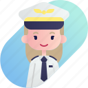avatar, blonde, diversity, girl, people, pilot, profession icon
