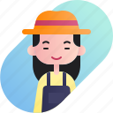 avatar, chinese, diversity, farmer, girl, people, profession icon