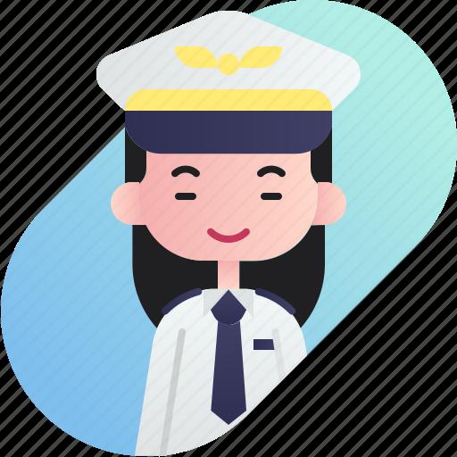 avatar, chinese, diversity, girl, people, pilot, profession icon