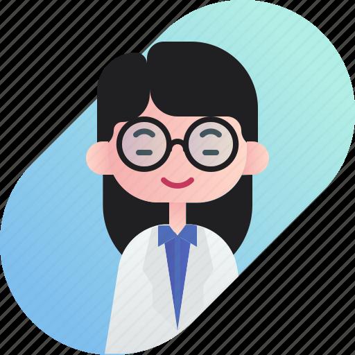 avatar, chinese, diversity, girl, people, profession, professor icon