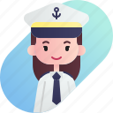 avatar, captain, diversity, female, girl, people, profession icon