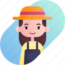 avatar, diversity, farmer, female, girl, people, profession icon