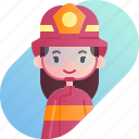 avatar, diversity, female, firefighter, girl, people, profession icon