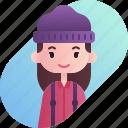 avatar, diversity, female, girl, lumberjack, people, profession icon