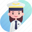 avatar, diversity, female, girl, people, pilot, profession icon