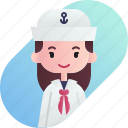 avatar, diversity, female, girl, people, profession, sailor icon