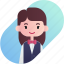 avatar, diversity, female, girl, people, profession, waitress icon