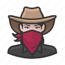 avatar, bandit, bandita, cowgirl, female, user icon