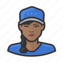 avatar, baseball, braid, female, user, woman icon