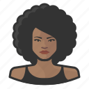 afro, avatar, female, user, woman icon