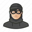 asian, avatar, burglar, criminal, crook, female, user, woman icon
