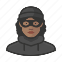 avatar, burglar, criminal, crook, female, thief, user icon