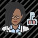 avatar, cardiopulmonologist, doctor, female, user, woman icon
