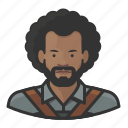 avatar, millennial, man, user, blacksmith, afro, male