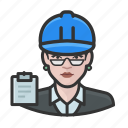 avatar, building inspector, female, hardhat, user