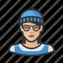 asian, avatar, beanie, hipster, millennial, user, woman