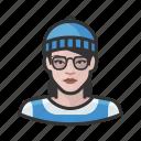 avatar, beanie, hipster, millennial, user, woman