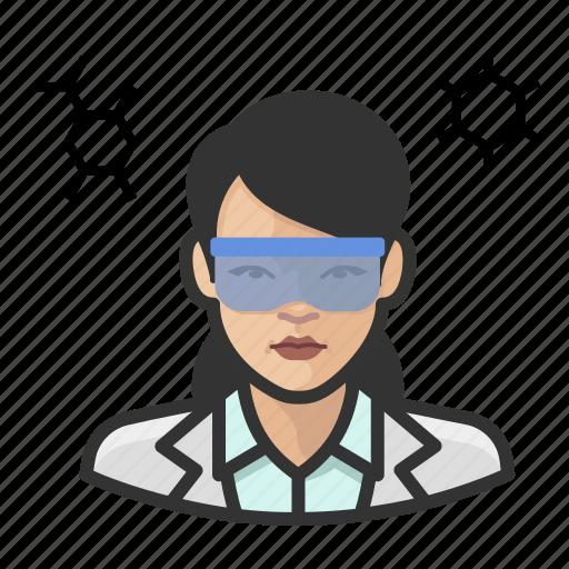 asian, avatar, chemist, female, scientist, user, woman icon