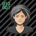 asian, avatar, computer, female, programmer, user, woman icon