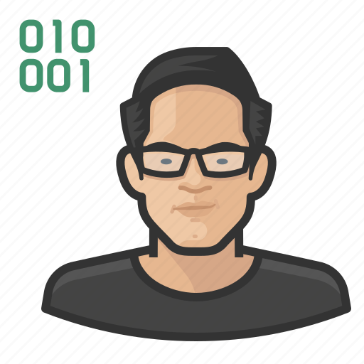 asian, avatar, computer, male, millennial, programmer, user icon