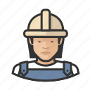 asian, avatar, construction, female, hardhat, user, woman