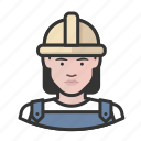 avatar, construction, female, hardhat, user, woman