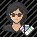asian, avatar, designers, female, graphic designer, user icon