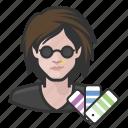 avatar, designers, female, graphic designer, millennial, user, woman icon