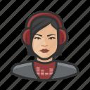 asian, avatar, disc jockey, female, millennial, user, woman icon