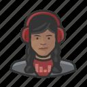 avatar, disc jockey, female, millennial, user, woman icon