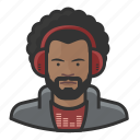 afro, disc jockey, dj, male, man, millennial